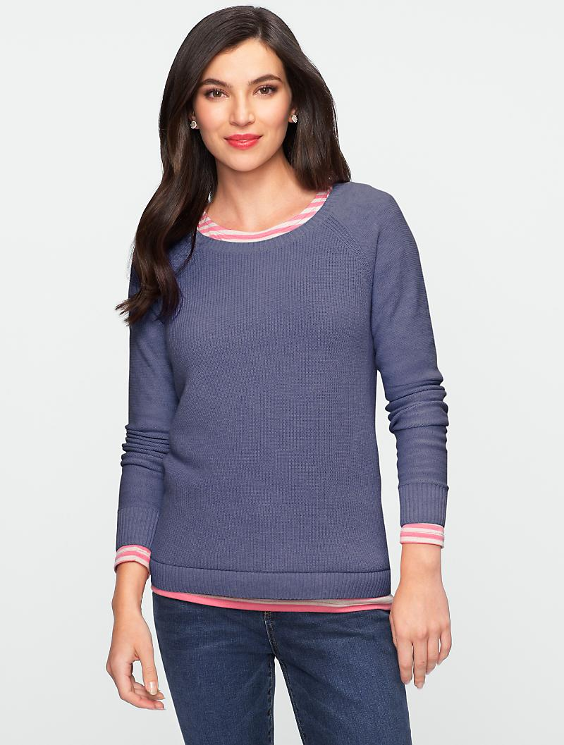 Talbots - Talbots Comfy Elbow-Patch Sweater
