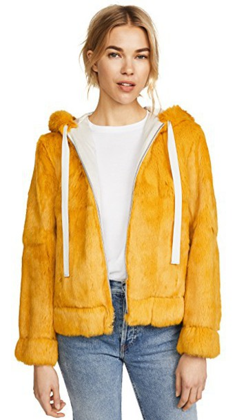 Robert Rodriguez jacket fur jacket fur yellow