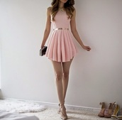 dress,outfit,pink dress,pale,high heels,cute dress,cute high heels,style,fashion,clutch,bag,purse,statement necklace,jewels,accessories,nude,nude high heels,a line dress,short dress,light pink dress,summer dress,night dress,silver,pink,girly,cute,necklace,shoes,hair,luxury,curly hair,gold,diamonds,baby pink,light pink,gold belt,black clutch bag,pleated,skater,flowy,pastel pink,rose,pleated dress,mini dress,girly dress,date dress