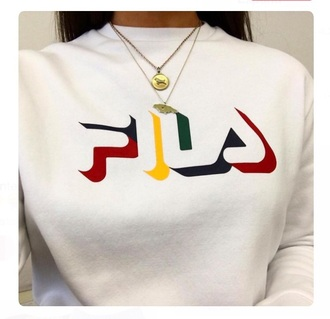 sweater red blue fila yellow sweatshirt white green