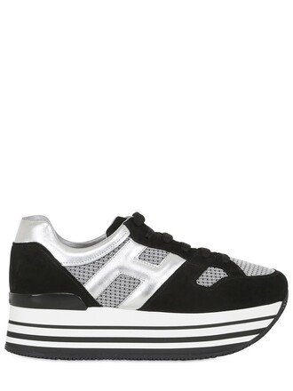 mesh sneakers platform sneakers suede silver black shoes