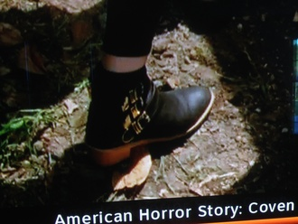 shoes american horror story boots black gold cute heel buckles