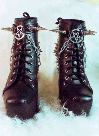shoes rock boots metal pentagram
