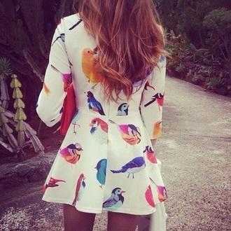 white dress dress birds pattern