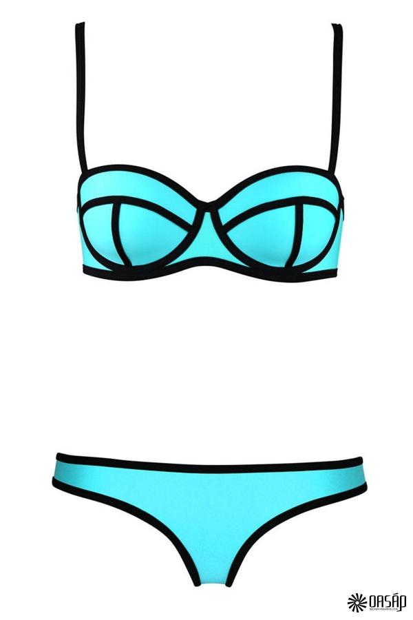 Swingy Ribbon Textured Bikini Swimsuit - OASAP.com