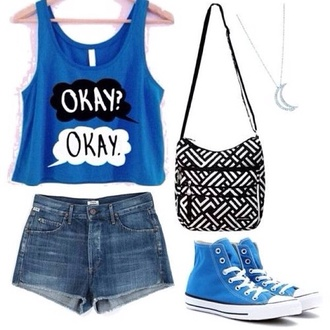 tank top blue okay? okay? skirt dark blue; the fault in our stars shirt blouse blue okay tfios the fault in our stars the fault in our stars bag black purse blue converse john green chevron black and white blue shirt tfios shirt jeans okayokay tfios blue okay? okay. shirt and shoes and shorts t-shirt blue top shoes blue converse allstar high tops