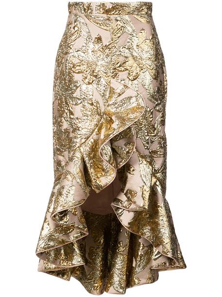 Johanna Ortiz Indian ruffled skirt - Metallic