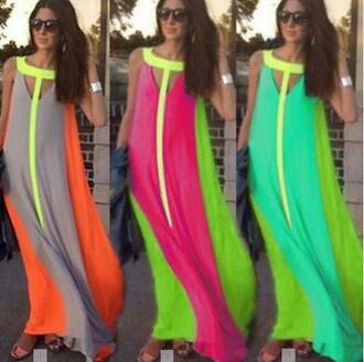 dress lady summer maxi maxi dress long dress colorful colorful dress fashionista sunglasses sleeveless dress rose greeen yellow fashion best outfit summer party party dress