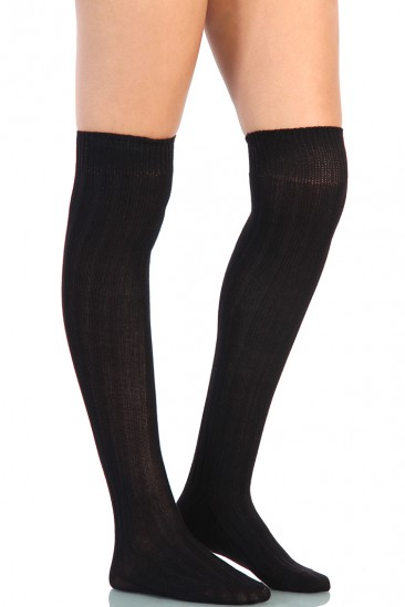 LoveMelrose.com From Harry & Molly | Knee High Socks - Black