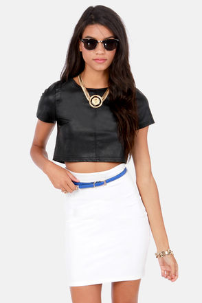 Sexy Black Top - Vegan Leather Top - Crop Top - $42.00