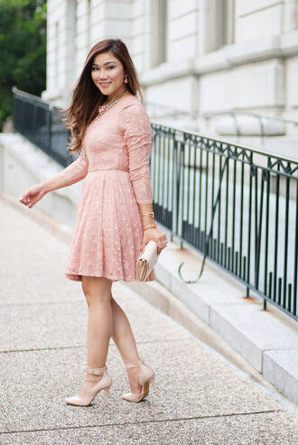 whatever is lovely – a houston life and style blog by lynne gabriel blogger dress shoes bag jewels pink dress pumps high heel pumps nude heels clutch