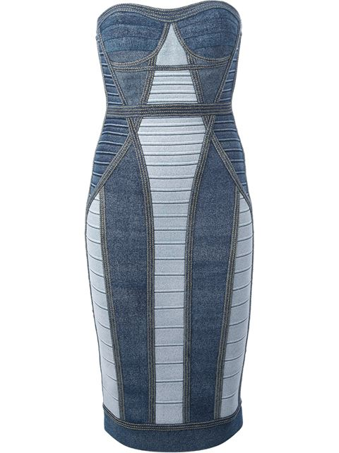 Hervé léger panelled bandage dress