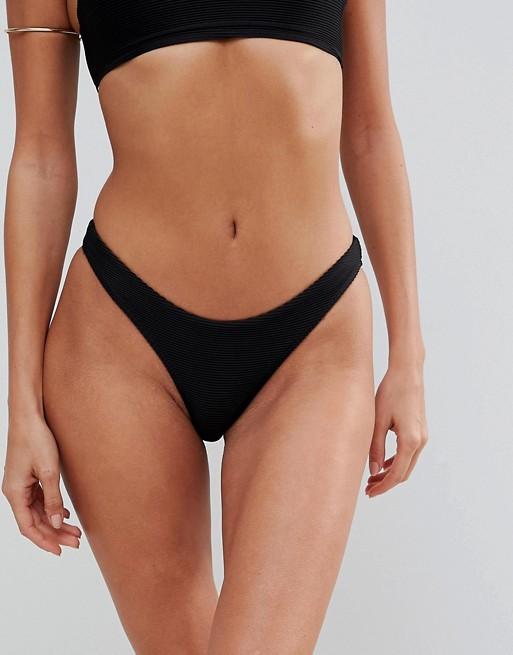 Lepel London Ribbed High Leg Bikini Bottom at asos.com