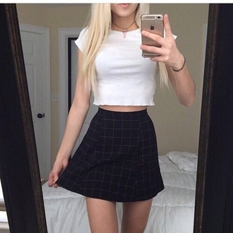 shirt white basic tartan skirt top crop tops