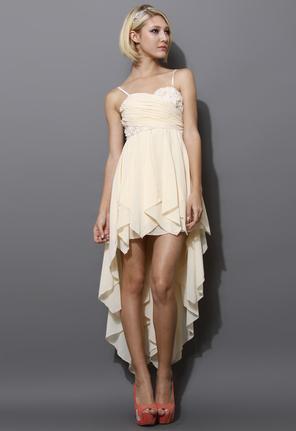 dress cream 3d flowers asymmetrical waterfall prom dress