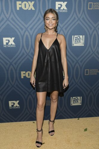 dress mini dress sandals little black dress sarah hyland emmys 2016