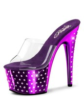 shoes,clear,shiny,bling,funny,slip on heels,purple,rhinestones,high heels,sandals,unique shoes,platform heels