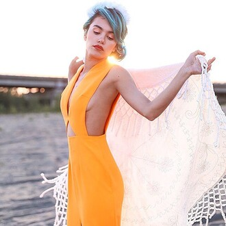 dress solace london orange maxi dress revolve clothing revolve side boob cut-out