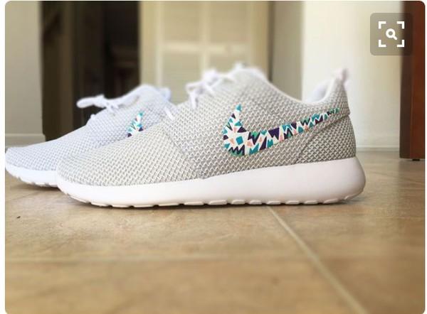 separation shoes 12c4d d1c6d Womens Custom Nike Roshe Run sneakers, triangles, purple, pink, teal ...
