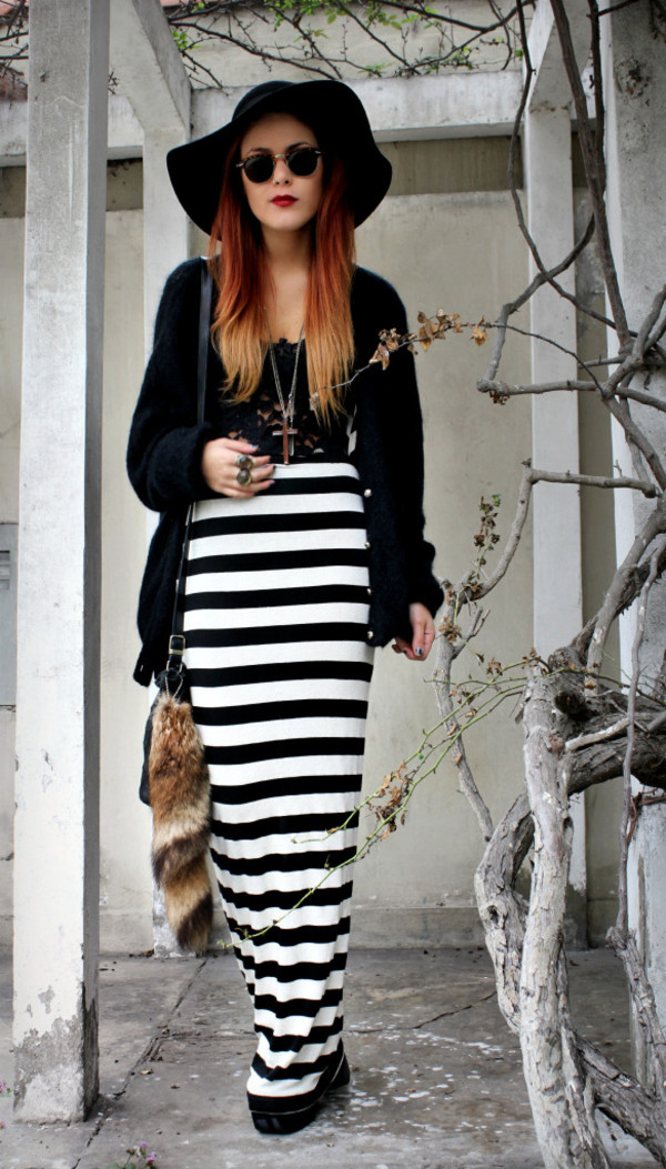 le happy stripes black skirt white skirt round sunglasses skirt hat