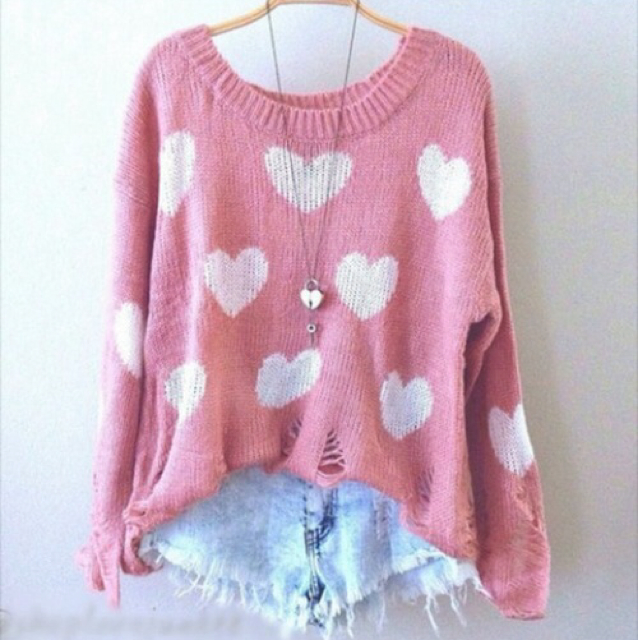 Cute pink and white heart sweater hearts