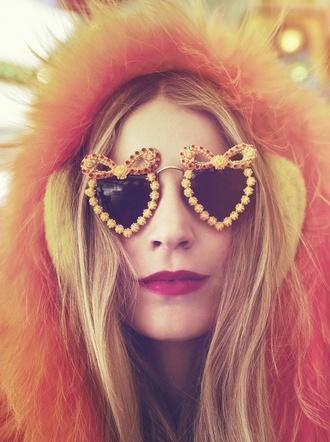 sunglasses glasses orange yellow bow heart round heart glasses sunnies model