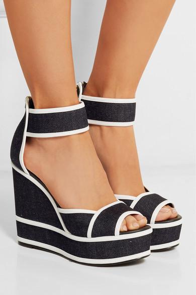 Blue Denim Wedge Shoes