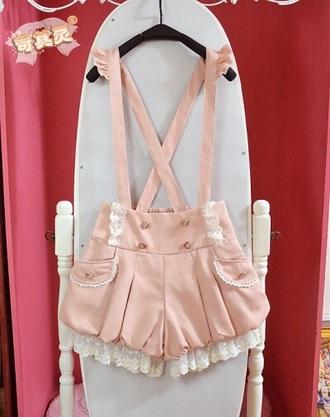 jumpsuit kawaii kawaii jumper jumper pink pale pink pastel cute shorts