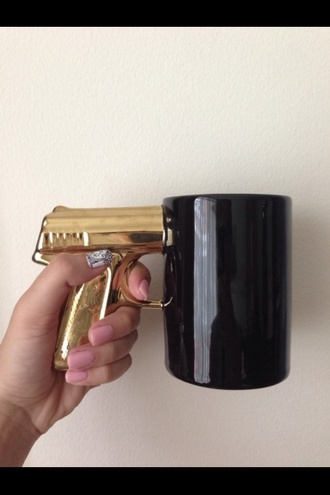 jewels mug cup cool hipster gold gun bullet leather