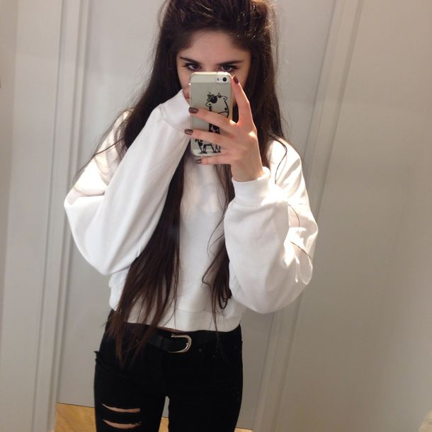 Jeans tumblr outfit belt top grunge pale grunge alternative sweater white style Pretty girl fashion style tumblr