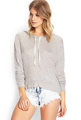 Sheer hooded pullover