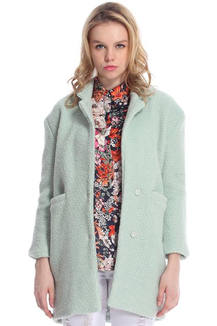Romwe lapel pocketed light green coat, the latest street fashion