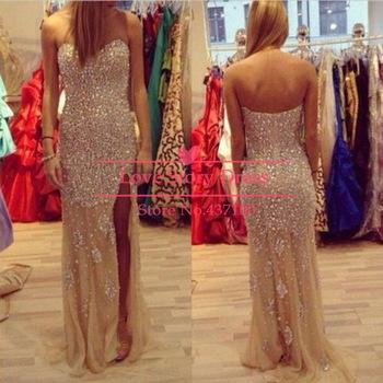 Luxury sweetheart rhinestones gold slit chiffon prom dresses with crystals long evening dress 2015 new fashion