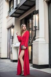 dress,tumblr,maxi dress,long dress,red dress,slit dress,formal event outfit,long sleeves,long sleeve dress,bag