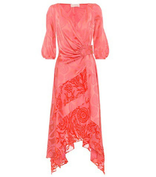 Peter Pilotto Satin jacquard wrap dress in pink