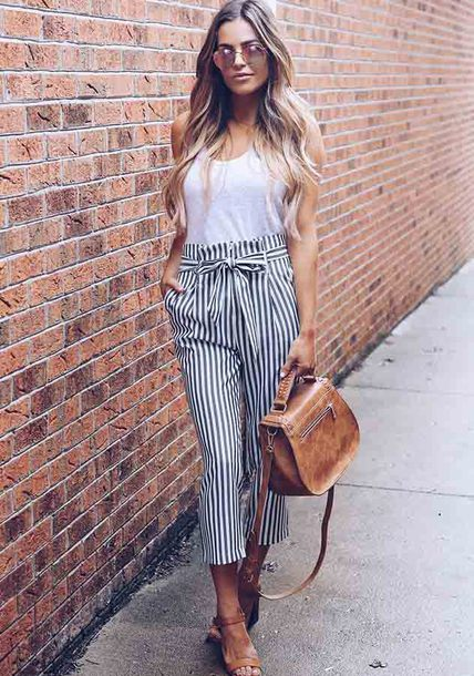 pants striped pants lace up pants white pants
