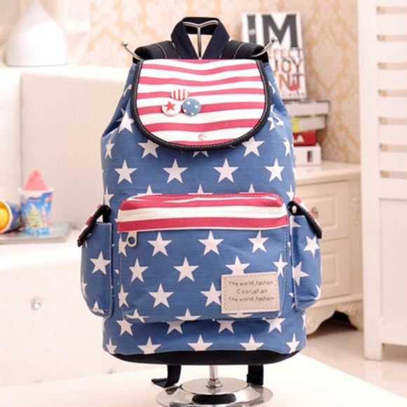 bag backpack stars stripes usa usa flag navy navy blue denim backpack