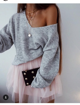 sweater oversized sweater off the shoulder grey