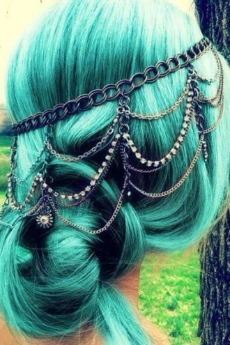 jewels vintage indie boho festival blue wild hair accessories chain hair band dyed