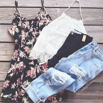 dress floral floral dress lace tank top boyfriend jeans ripped boyfriend jeans jeans shorts