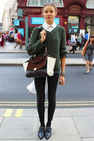 blouse collar army green oversized cardigan minimalist bag oversized bag pointed toe