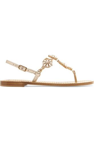 metallic embellished sandals gold leather shoes