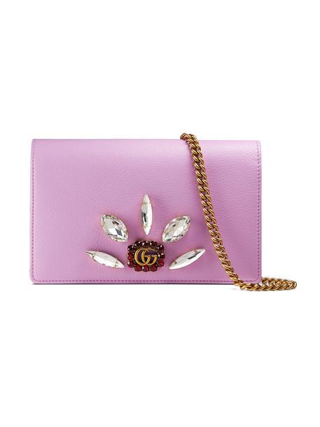 gucci mini metal women bag chain bag leather purple pink