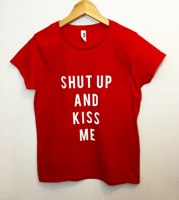 Valentine's day gift shut up and kiss me red lipstick t