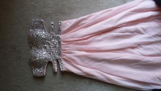 prom dress long prom dress pink chiffon sweatheart beading prom beaded prom dress silver