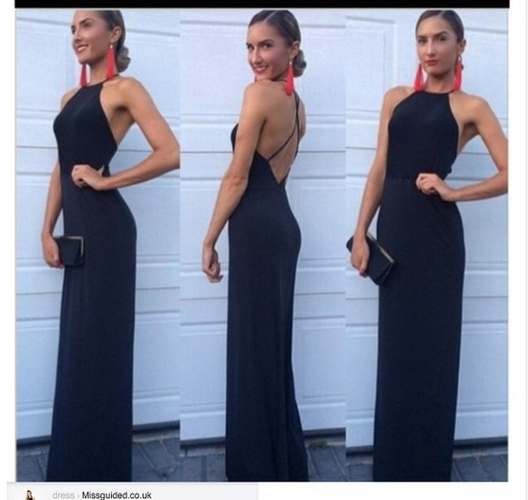 cross back dress backless high neck maxi dress