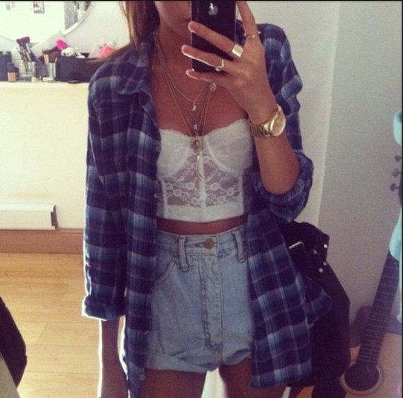jacket t-shirt pants jeans shirt sweater cute blouse white plaid purple blue bandeau bandeau top coat jewels tank top underwear
