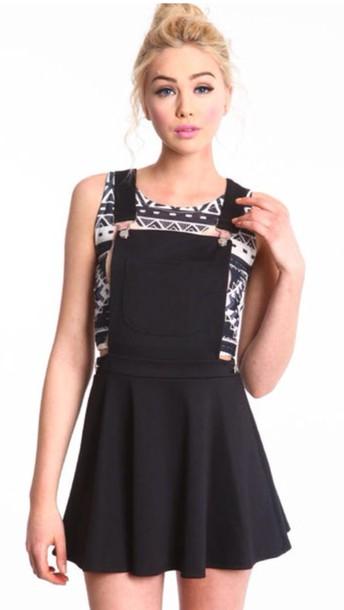 dress black overall dress