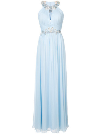 gown women embellished floral blue silk dress