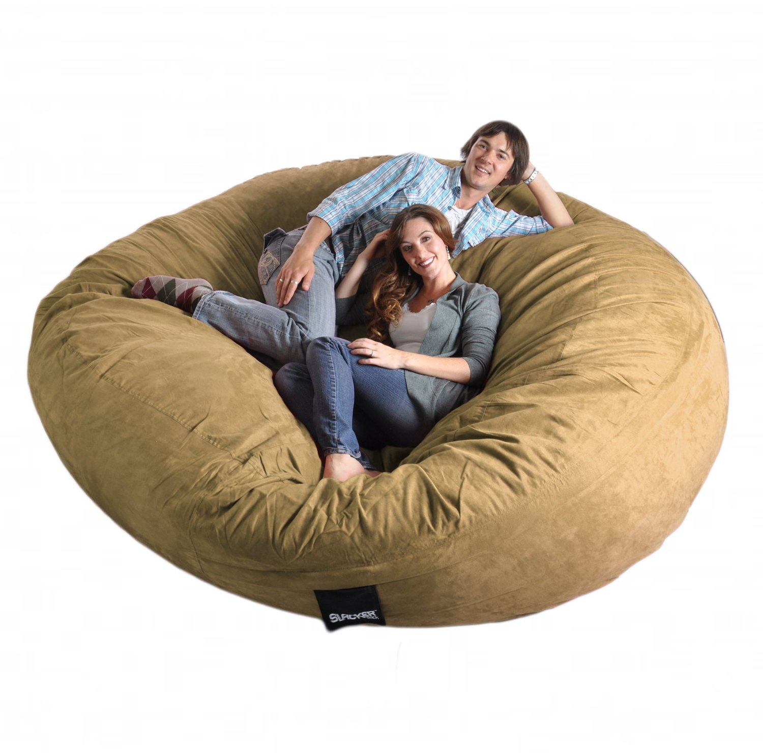 Amazon.com: 8 Feet Round Light Brown Tan XXXL Foam Bean Bag Chair  Microfiber Suede Giant SLACKER ...